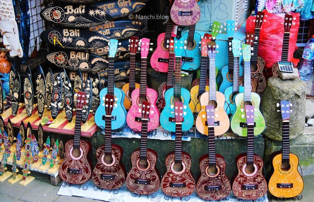 Decorative toy Guitars, Ubud Market, Ubud, Bali, Indonesia