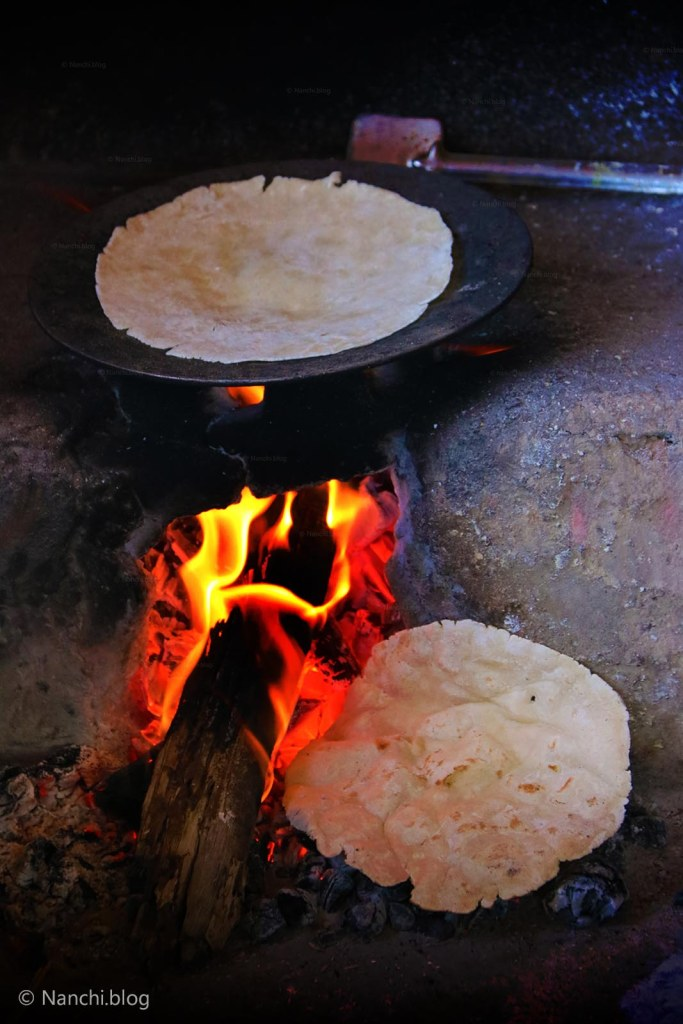 Bhakri cooked on Iron Skillet on wood fire, Sinhgadh Fort, Pune