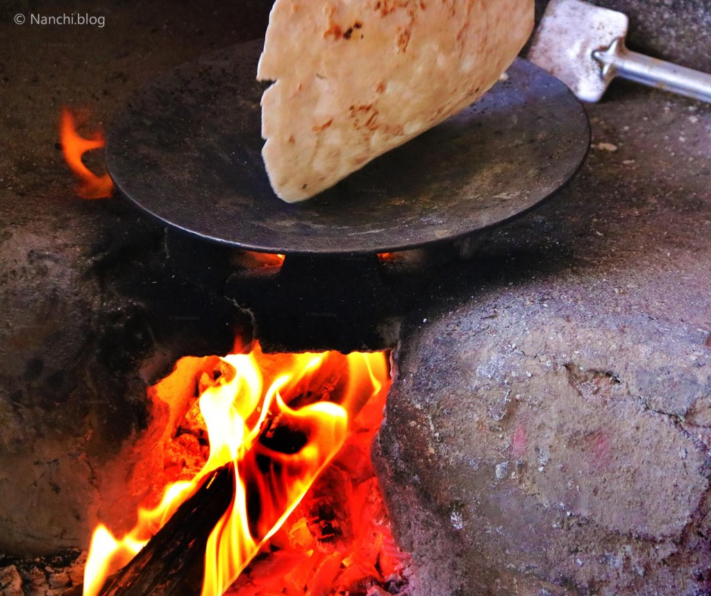 Bhakri cooking on Iron Skillet, Wood fire, Sinhgadh Fort, Pune
