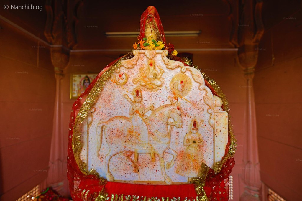 Goddess in the temple at The Royal Cenotaphs, Devikund Sagar, Bikaner