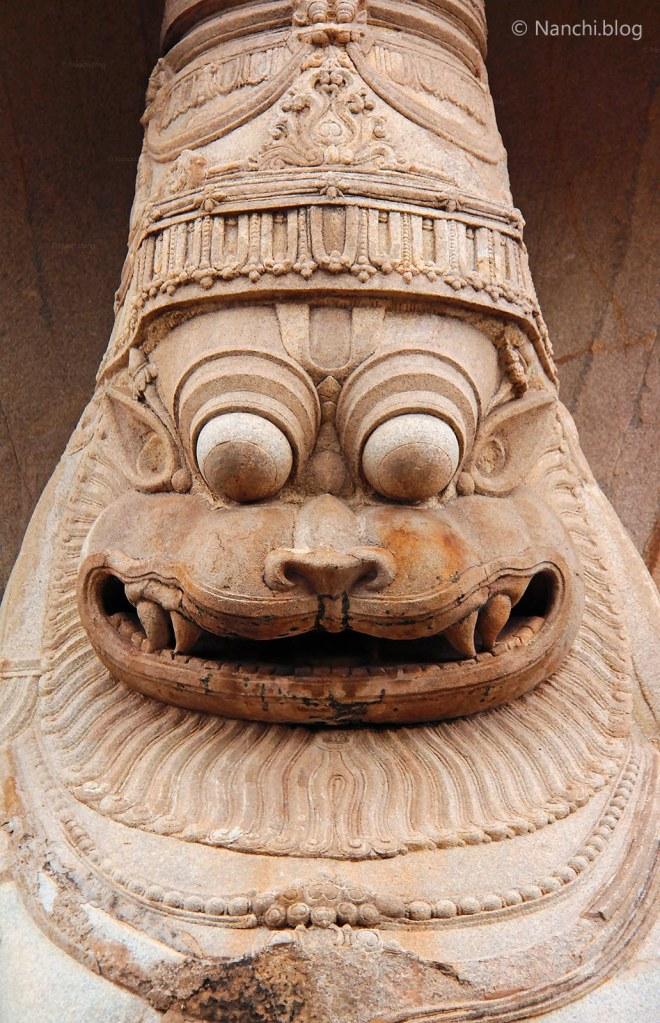Lakshmi Narasimha Statue Face, Temple in Hampi, Karnataka