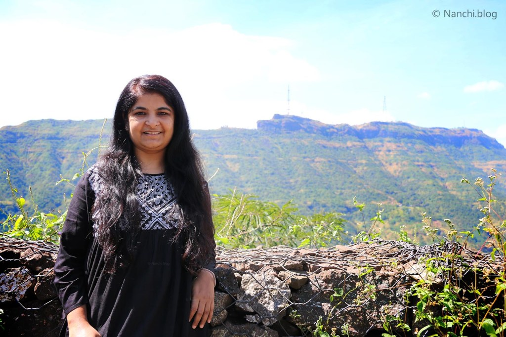 Megha, Nanchi against the background of Sinhagad Fort, Pune