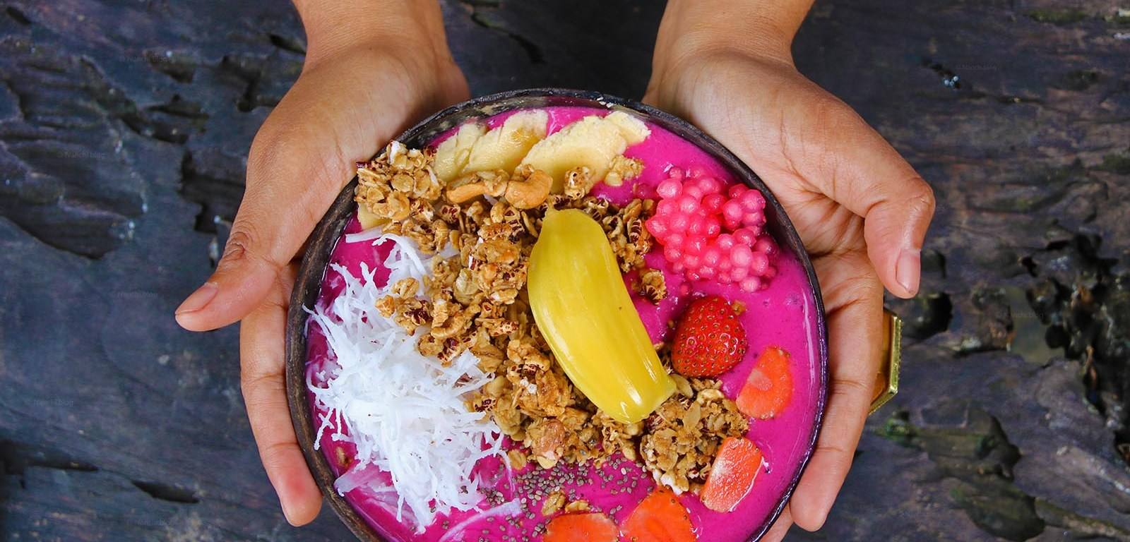 Tropicana Pink Smoothie Bowl, Yellow Flower Cafe, Ubud, Bali