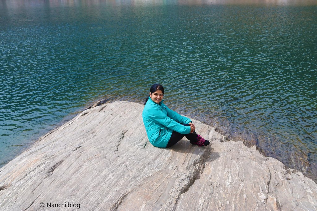 Nanchi sitting around Tsomgo Lake, Changu Lake, Sikkim