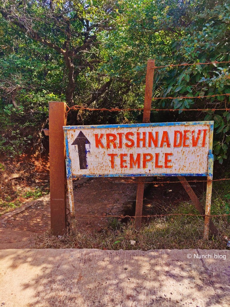 Sign board for Krishnabai Temple of Lord Shiva in Old Mahabaleshwar