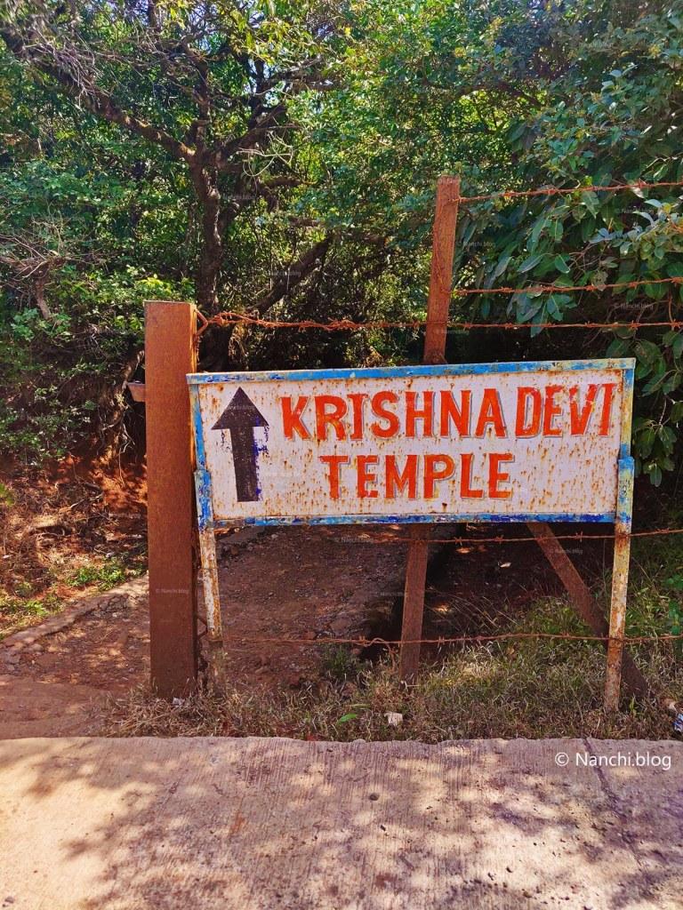 Sign board for Krishnabai Temple of Lord Shiva in Old Mahabaleshwar